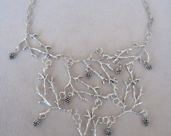 Antique Silver Open Winter Tree Branches with Pine Cones Fall Necklace