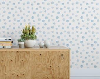Blue watercolor dots removable wallpaper / cute self adhesive wallpaper / polka dot wall mural G203-13