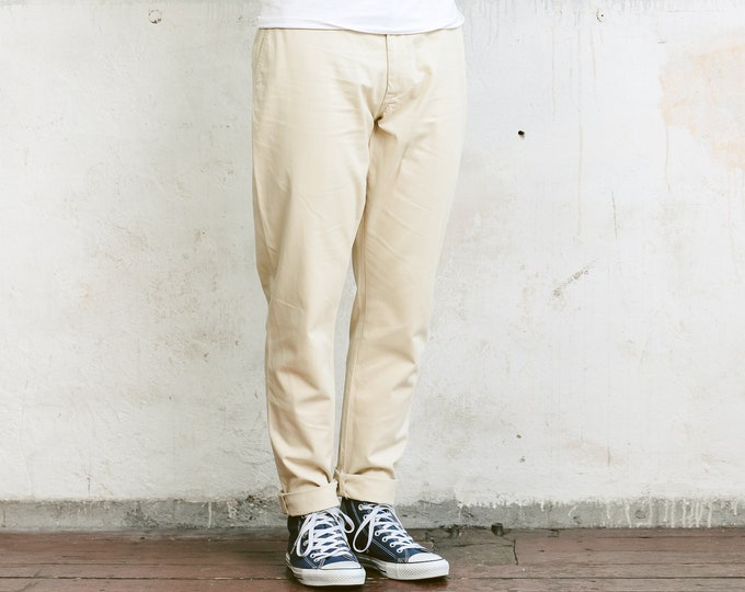Ralph Lauren Chino Pants . Men's Beige Pants Vintage Trousers Vacation Pants 90s Chinos Hipster Outfit Normcore Pants . size W33 L32