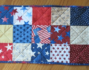 Patriotic table runner, Americana, reversible, handmade, red, white, and blue