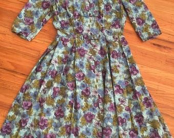 1950's blue and purple floral print dress ~ vintage cotton dress ~ full skirt day dress