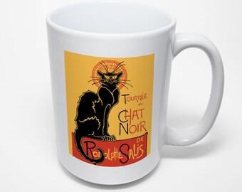 Chat Noir Mug, Art Nouveau, The Black Cat
