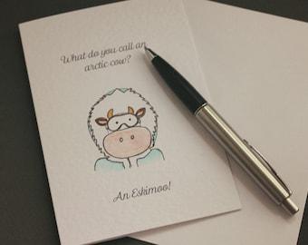 Eskimoo Hand-drawn Greeting Card - Cow | Animal | Farming | Christmas | winter |  drawing | cheesy | funny | watercolour