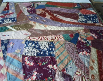 Vintage crazy quilt mae with 30's fabric and some earlier...vibrant