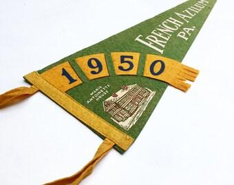 Vintage French Azilum, Pennsylvania Souvenir Felt Pennant (1950)