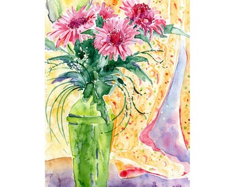 The Green Vase Highgate London Original Watercolor Painting