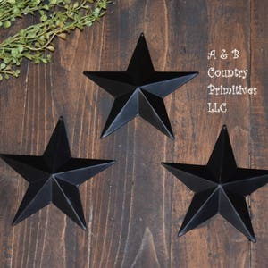 Set Of 3 (8 Inch) Black Tin Metal Barn Stars, Country Barn Star