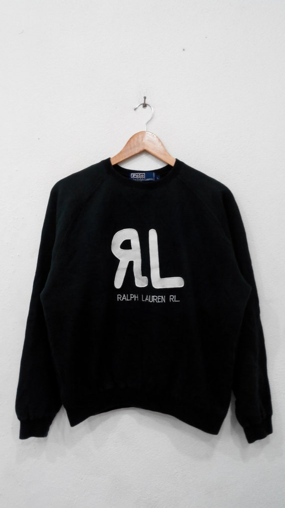 Big Black RARE Pullover Jumper Colour Sweatshirts Logo Lauren Size Polo Large Embroidery Neck Ralph Crew qBBtUH