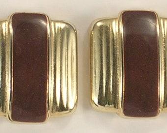 Weekender Brand Brown Glittery Enamel and Gold Colored Metal Pierced Earrings