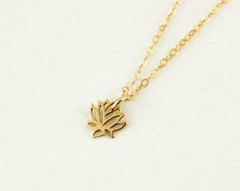 Gold Lotus Charm Necklace - Lotus Necklace - 14Kt Gold Filled