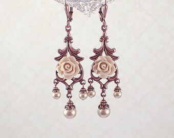 Rose Gold and Copper Colored Chandelier Earrings with Swarovski Crystal Pearls, Antiqued Copper, and Resin Roses