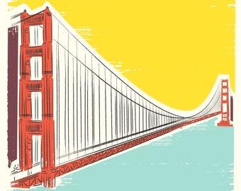 Travel poster, San Francisco Print, Golden Gate Bridge, San Francisco Art, City by the Bay poster, Contemporary Home, travel Wall Decor