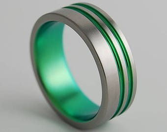 Andromeda Band in Immortal Green , Titanium Ring , Wedding Band , Promise Ring