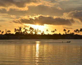 Wakeboarding in front of Hawaiian Sunset