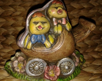 Two Chicks in A Carriage Figurine