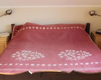 Wool Blanket, Mid Century, Pink Floral, 100% wool, Vintage AaBe of Holland