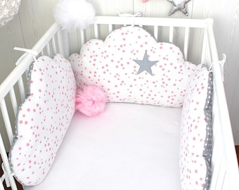 Baby cot bumpers for 60cm wide bed, 3 cloud pillows, white and grey with pink stars