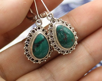 Natural Turquoise Earrings In Sterling Silver 231076