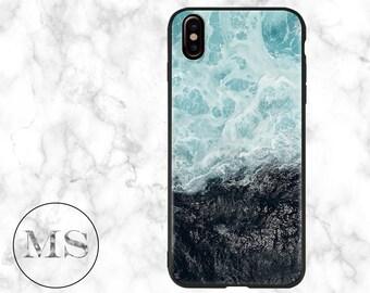 Ocean Waves, sea, water, iPhone X case, 8, 8 Plus, 7, 7 Plus, 6s, 6s Plus, iPhone 6, 6 Plus, blue, abstract, landscape, white, nature