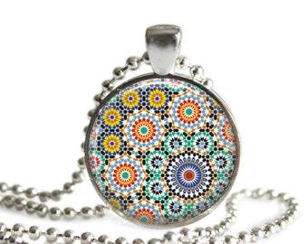 Moroccan pendant necklace colorful moorish tile mandala design silver pendant