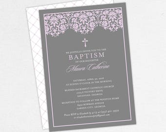 Girl Baptism Invitation, Christening Invitation, Printable Baptism Invitation, PDF Invite, DIY Invite, Lace, Floral, Damask, Purple, Maura