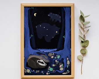 Ursa Major, Ursa Minor, star poster, constellation print, badger, Ursa Major print, Ursa Minor art, nursery star theme, illustration print