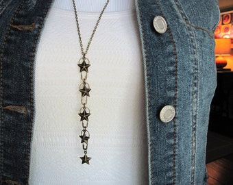 Star Necklace, 5 Stars, Safety Pin Jewelry, Layering Necklace, Long, Upcycled Jewelry, Gifts for Her, Celestial Necklace, Heavenly, Stars