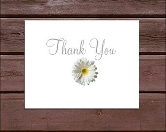 100 White Daisy Wedding Thank You Notes
