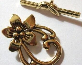 1 antique gold metal flower toggle clasp set