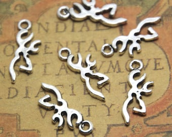 30pcs Deer Head Silhouette charms silver tone Deer Antlers Charms Pendants 22x9mm ASD1765