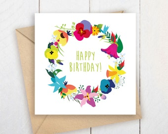 Instant Download Happy Birthday  | Happy Birthday Printable Card | Flowers Card |