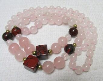 Vintage rose quartz and jasper hand knotted endless necklace natural gemstones 30 inches estate find