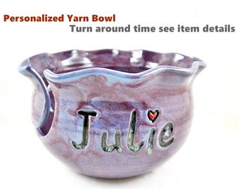 Personalized Yarn bowls , Knitting bowls , pottery yarn bowls, Purple knitting bowl, Handmade ceramic yarn bowl