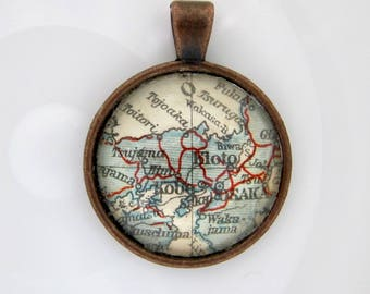 Antique osaka map etsy kyoto 1922 old world atlas japanese inspired pendant copper charm cabochon necklace history jewellery gumiabroncs Images