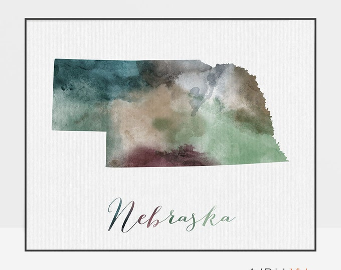 Nebraska print, travel map, Nebraska poster, Nebraska state, U.S state print, Wall art, travel poster, watercolor, home decor ArtPrintsVicky