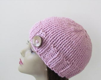 Chunky Knit Hat Winter Hat Chunky Knit Beanie Womens Hat Teens Hat - Blossom Pink with  Button Accent  - Ready to Ship - Gift for Her