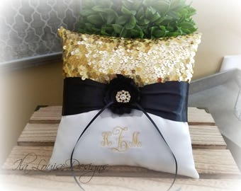 Ring Bearer Pillow, Gold and Ivory Ring Bearer Pillow, Monogrammed Ring Bearer Pillow, Gold and Black Ring, Pillow, Navy and Gold Pillow