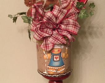 Ginger Floral Arrangement Upcycled Can Housewarming Gift Ginger LoverGinger KitchenCountry Kitchen Cottage Chic Handmade Ready To Ship  Home