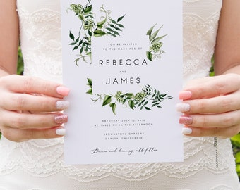 Greenery Wedding Invitation Template Fern Leaves Printable Wedding Invitation DIY Templett PDF Instant Download Editable Rustic Wedding