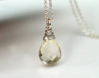 Oregon Sunstone Teardrop Pendant Necklace | Clear Champagne Pear Briolette | Argentium Sterling Silver Cable Chain Necklace | Ready to Ship