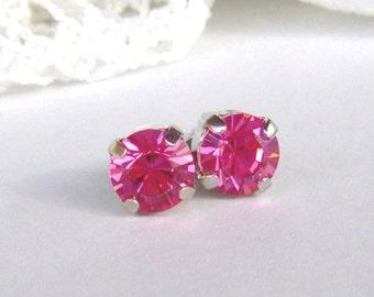 Pink rhinestone stud earrings / Swarovski / girlfriend gift / gift for her / Rose / 6mm / Bridesmaid earrings / rhodium