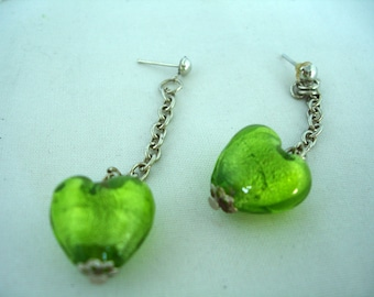 Green Murano Glass Heart Earrings - Studs - Dangling - Fashion Jewelry - Nickelfree - Heartbead