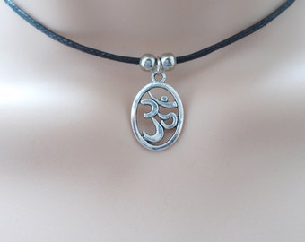 silver om choker - black cord choker with charm - gift for her - spiritual jewellery