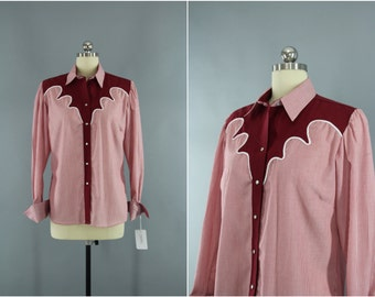 Vintage 1970s Rockmount Shirt / 70s Rockabilly Shirt / Red Striped Blouse / Western Style Ranch Wear / Size Medium M Large L
