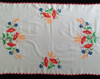 Hungarian Kalocsa Floral Hand Embroidered Tablecloth from the 80s