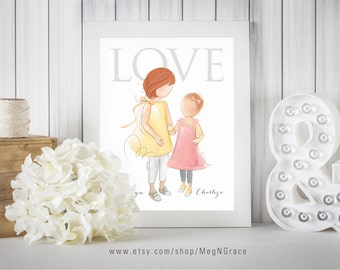 Sisters Wall Art Decor - Red Hair - PERSONALIZED Child's Room Wall Art Print Gift for Mother's Day, Daughter's Gift, Gift for Wife