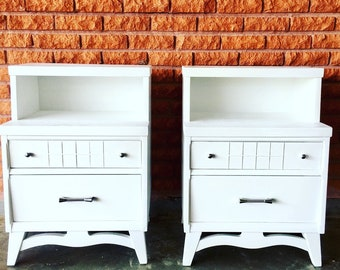 SOLD Pair of White Vintage Two Tier Nightstands