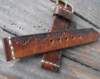 Tooled Watch Band for Woman Leather Strap Apple Watch Band 38mm Women