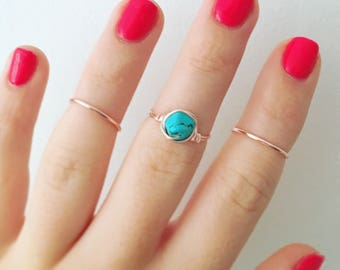 Turquoise Rose Gold Ring Set • Turquoise Ring + Rose Gold Midi rings • Knuckle Rings • Stacking Rings • Gemstone Ring