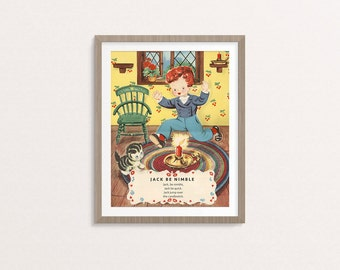 "Digital Jack Be Nimble nursery rhyme poster / 8"" by 10"" / downloadable, printable / vintage boy Mother Goose digital print / wall art decor"